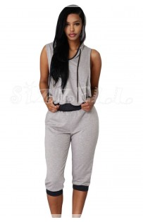 "THE ""NORA"" ULTRA MODERN & UPDATED CAPRI SWEATSUIT SET ...  GREY/BLACK.."