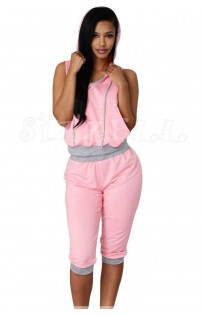 "THE ""NORA"" ULTRA MODERN & UPDATED CAPRI SWEATSUIT SET ... PINK/GREY.."
