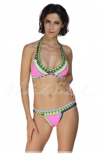 "THE ""APPLE"" HANDMADE CROCHET & NEOPRENE BOHO BIKINI.. PINK/  MULTI COLOR..."