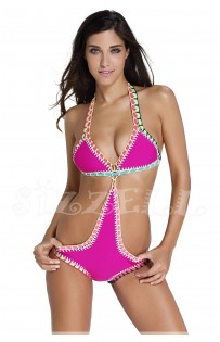 "THE "" PINKY"" HANDMADE CROCHET NEOPRENE MONOKINI SWIMSUIT.."