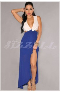 "THE ""PAM"" UNIQUE TWIST FRONT CUT OUT MAXI DRESS.. WHITE/ BLUE.."