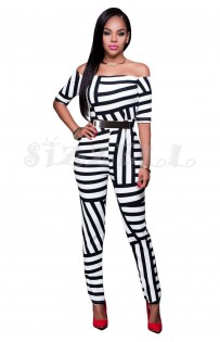 "THE ""ADINA"" GRAPHIC STRIPE LUXE OFF SHOULDER JUMPSUIT..."