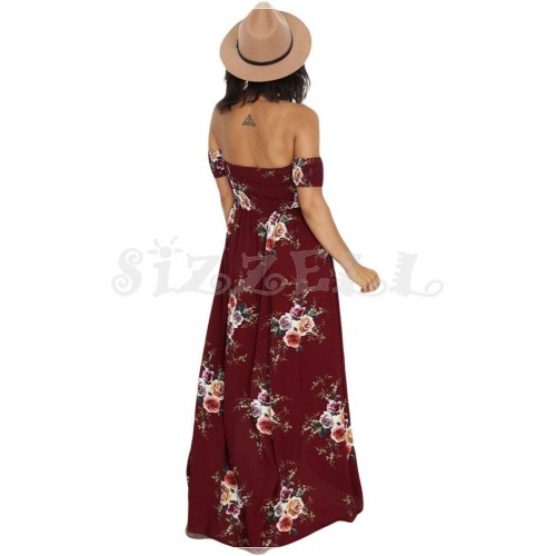 "THE ""LYNN"" BOHO FLORAL OFF SHOULDER LUXE MAXI DRESS...  WINE DREAM..."