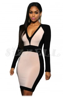 "THE ""PAMELA"" COLORBLOCK DRESS W/ EDGY SHOULDERS...  BONE/BLACK..."