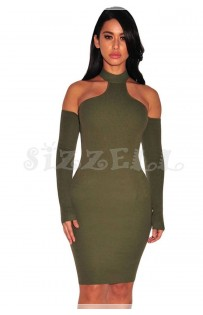 "THE "" LEONA"" LUXE RIBBED CHOKER OFF SHOULDER DRESS... POLIVE..."