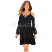 "THE ""RENA"" BOHO COLD SHOULDER LUXE BOHO LACE SLEEVES DRESS... BLACK..."
