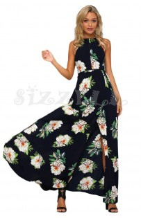 "THE ""BINDI""  LUXE BOHO FLORAL HALTER W/ CUTOUT BACK MAXI DRESS... BLACK..."
