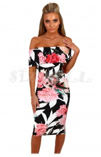 "THE ""BRIANNA"" FLORAL OFF-SHOULDER MIDI DRESS W/ CUT OUT BACK... BLACK FLORAL..."