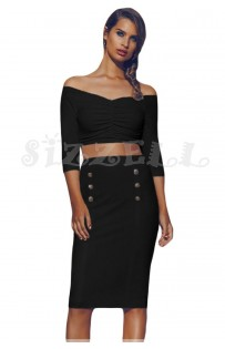 "THE "" SCARLET""  LUXE OFF SHOULDER CROP TOP W/ HIGH WAISTED MIDI SKIRT... BLACK..."