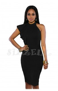 "THE ""EVALYNNE"" RUFFLE ONE SHOULDER DRESS.. BLACK..."