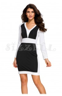 "THE ""PAMELA"" COLORBLOCK DRESS W/ EDGY SHOULDERS... BLACK/WHITE..."
