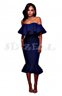 "THE ""AMILA"" LUXE OFF SHOULDER RUFFLE MIDI DRESS W/ MERMAID HEM... BRIGHT NAVY..."