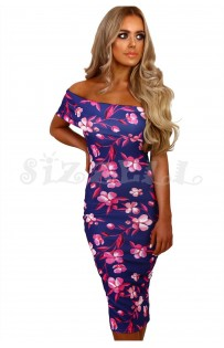 "THE ""BRIANNA"" FLORAL OFF-SHOULDER MIDI DRESS W/ CUT OUT BACK... NAVY FLORAL..."