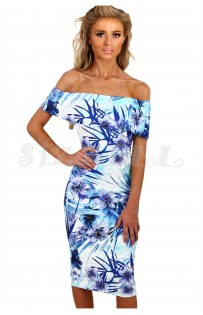 "THE ""BRIANNA"" FLORAL OFF-SHOULDER MIDI DRESS W/ CUT OUT BACK... BLUE FLORAL..."