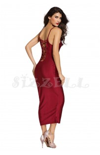 "THE ""LEE"" LUXE LACE-UP BACK BODYCON  DRESS...  WINE..."