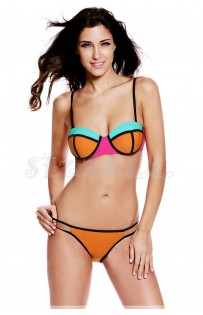 "THE ""GILLIAN"" COLORBLOCK STRAPPY LUXE BIKINI..."