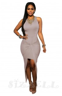 "THE  ""CHLEO""  FRONT KNOTTED ASYMMETRIC LUXE DRESS...  DOVE GREY..."
