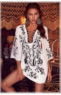 "THE ""AMIR"" LUXE KAFTAN EMBROIDERED DRESS W/ LACE-UP FRONT..."