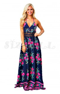 "THE ""RENIE"" LUXE FLORAL W/ LACE MAXI HALTER DRESS...  NAVY DREAM..."