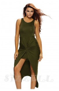 "THE  ""CHLEO""  FRONT KNOTTED ASYMMETRIC LUXE DRESS...  OLIVE..."