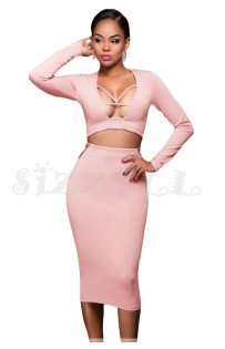 "THE ""BEAN"" LUXE CUT-OUT CROP TOP & BODYCON MIDI SKIRT... PETAL PINK..."