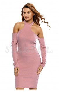 "THE "" LEONA"" LUXE RIBBED  CHOKER OFF SHOULDER DRESS... PINK SORBET..."