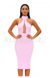 "THE ""VINUS"" CURVED CUT HALTER NECKLINE LUXE MIDI DRESS ... SHERBET..."