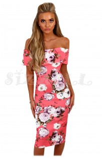 "THE ""BRIANNA"" FLORAL OFF-SHOULDER MIDI DRESS W/ CUT OUT BACK... PINK FLORAL..."