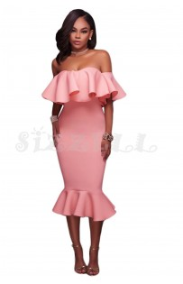 "THE ""AMILA"" LUXE OFF SHOULDER RUFFLE MIDI DRESS W/ MERMAID HEM... PETAL  PINK..."