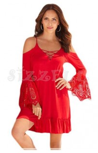 "THE ""RENA"" BOHO COLD SHOULDER LUXE BOHO LACE SLEEVES DRESS... RED..."