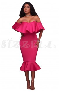 "THE ""AMILA"" LUXE OFF SHOULDER RUFFLE MIDI DRESS W/ MERMAID HEM... ROSE PINK..."