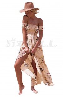 "THE ""LYNN"" BOHO FLORAL OFF SHOULDER LUXE MAXI DRESS...  PINK DREAM..."