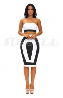 "THE ""GLENN"" BLACK & WHITE COLORBLOCK LUXE BANDEAU TOP $ SKIRT SET..."