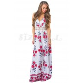 "THE ""RENIE"" LUXE FLORAL W/ LACE MAXI HALTER DRESS... WHITE FLORAL DREAM..."