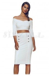"THE "" SCARLET"" LUXE OFF SHOULDER CROP TOP W/ HIGH WAISTED MIDI SKIRT... WHITE..."