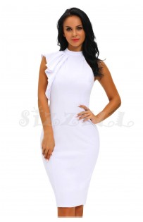 "THE ""EVALYNNE"" RUFFLE ONE SHOULDER DRESS.. WHITE..."