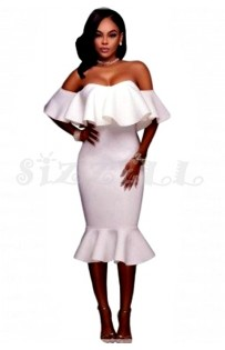 "THE ""AMILA"" LUXE OFF SHOULDER RUFFLE MIDI DRESS W/ MERMAID HEM... PURE WHITE..."