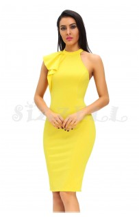 "THE ""EVALYNNE"" RUFFLE ONE SHOULDER DRESS.. YELLOW..."
