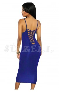 "THE ""LEE"" LUXE LACE-UP BACK BODYCON DRESS... ROYAL BLUE..."