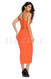 "THE ""LEE"" LUXE LACE-UP BACK BODYCON DRESS... SUNKIST..."