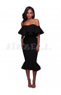 "THE ""AMILA"" LUXE OFF SHOULDER RUFFLE MIDI DRESS W/ MERMAID HEM... BLACK..."