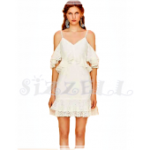 "THE ""PAMELA"" EYELET LACE RUFFFLED COLD SHOULDER LUXURY DRESS ..."