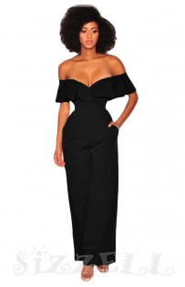 "THE "" KEENE"" OFF SHOULDER RUFFLED SWEETHEART NECKLINE WIDE LEG LUXE JUMPSUIT... BLACK..."