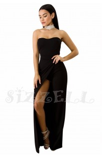 "THE ""GEM"" STRAPLESS SLIT LEG UTRA CHIC LUXE JUMPSUIT... BLACK..."