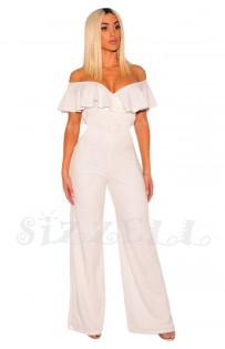 "THE "" KEENE"" OFF SHOULDER RUFFLED SWEETHEART NECKLINE WIDE LEG LUXE JUMPSUIT... WHITE..."