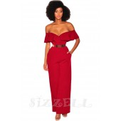 "THE "" KEENE"" OFF SHOULDER RUFFLED SWEETHEART NECKLINE WIDE LEG LUXE JUMPSUIT... MAGENTA..."