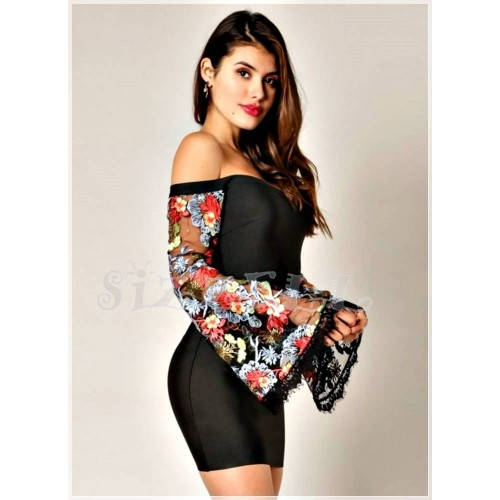 "THE ""KELINA"" OFF SHOULDER LUXURY BANDAGE DRESS W/ SHEER EMROIDERED BELL SLEEVES..."