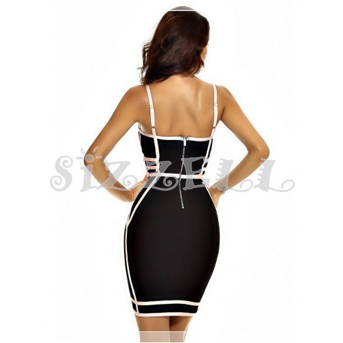 "THE ""AVA""  LUXURY CONTRAST PINK DESIGN  BANDAGE DRESS... BLACKW/ PINK"