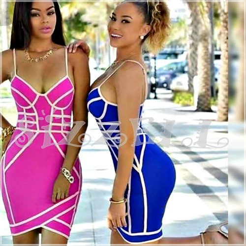 """THE """"AVA"""" LUXURY CONTRAST PINK DESIGN BANDAGE DRESS... BLUE W/ PINK"""