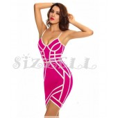 "THE ""AVA"" LUXURY CONTRAST PINK DESIGN BANDAGE DRESS... FUCHSIA W/ LIGHT PINK"